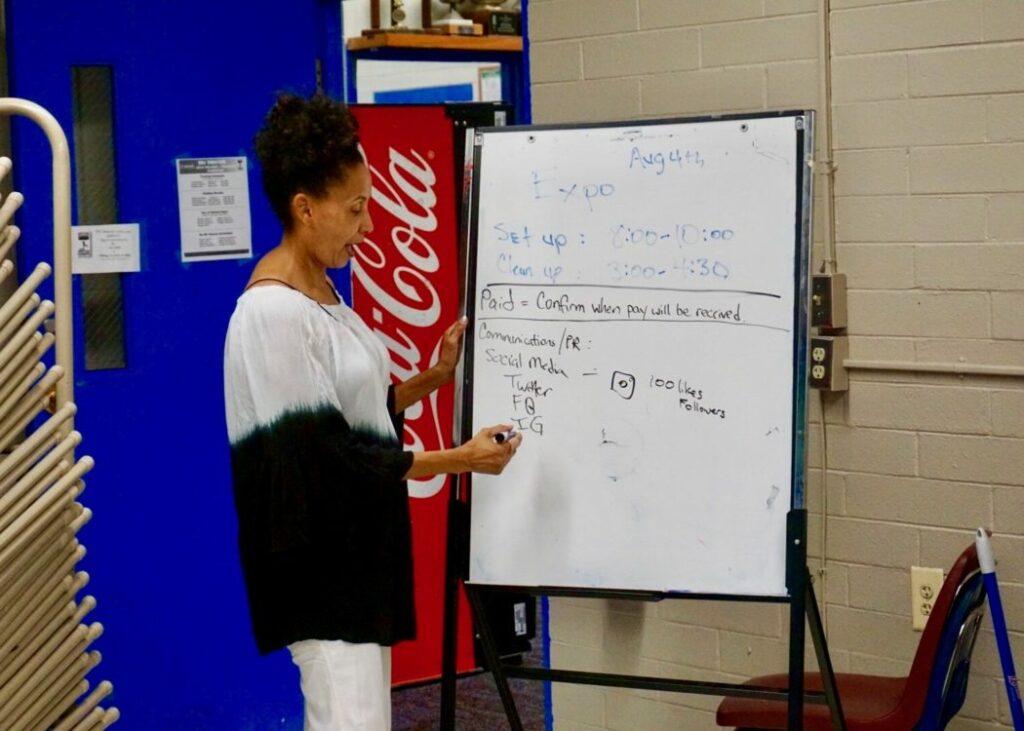 Woman draws on a white board