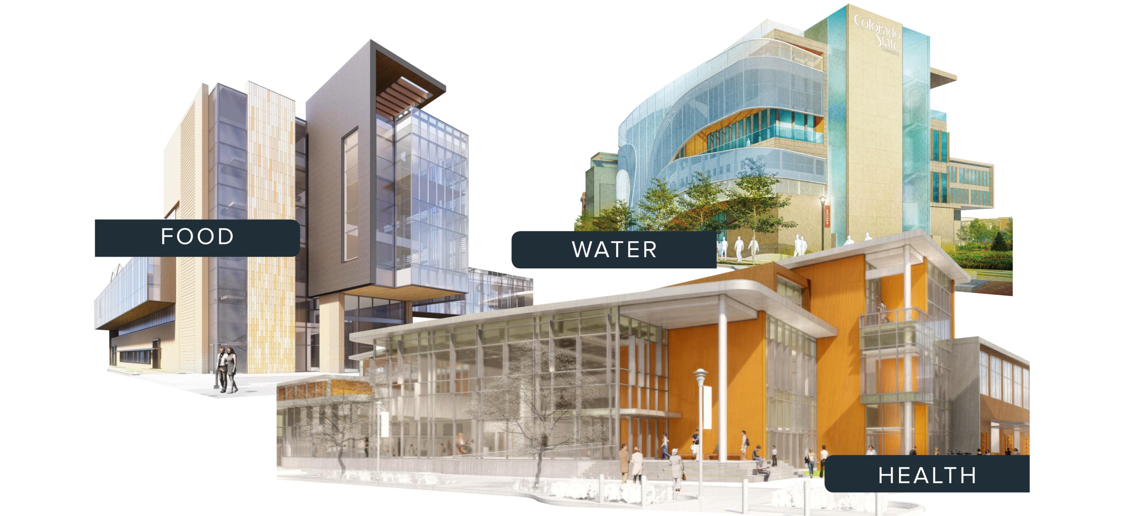 Three building renderings.
