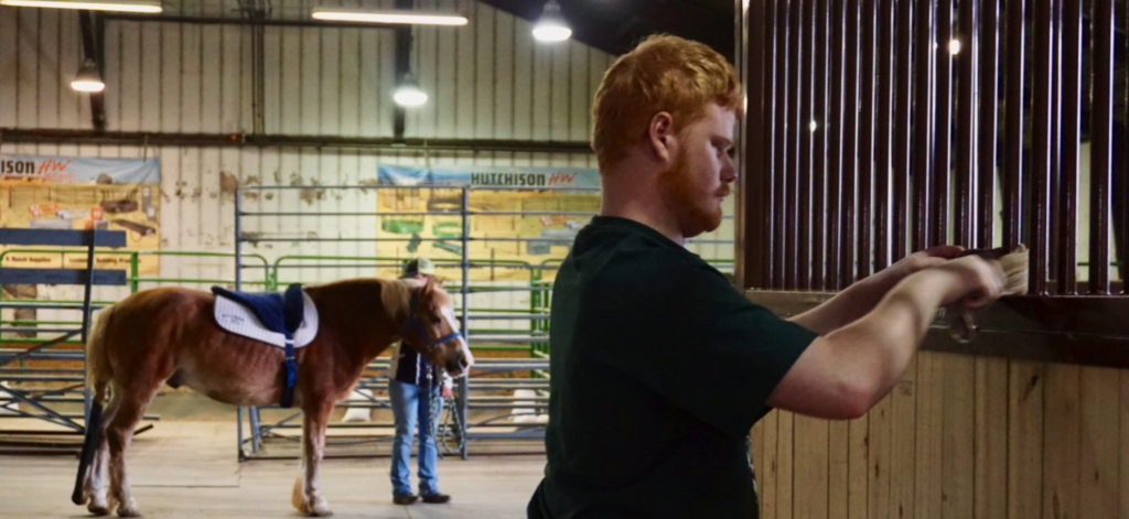 Man stands at a horse stall with horse in the background