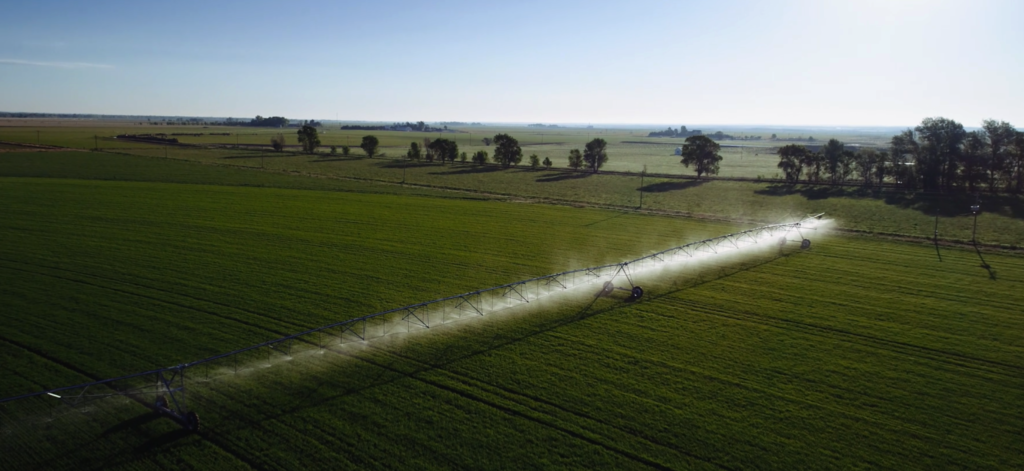 Aerial view of irrigator on a field