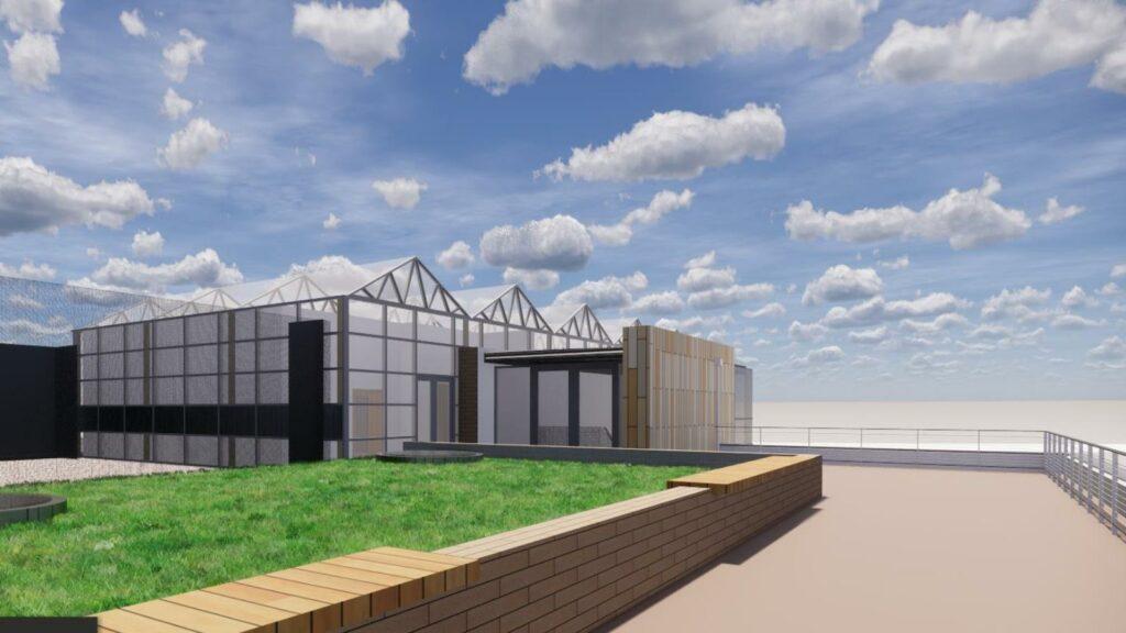 Rendering of rooftop greenhouses