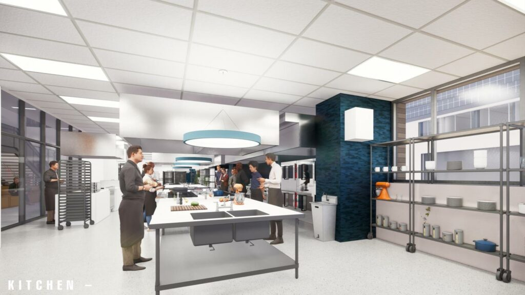 Rendering of people in an industrial kitchen