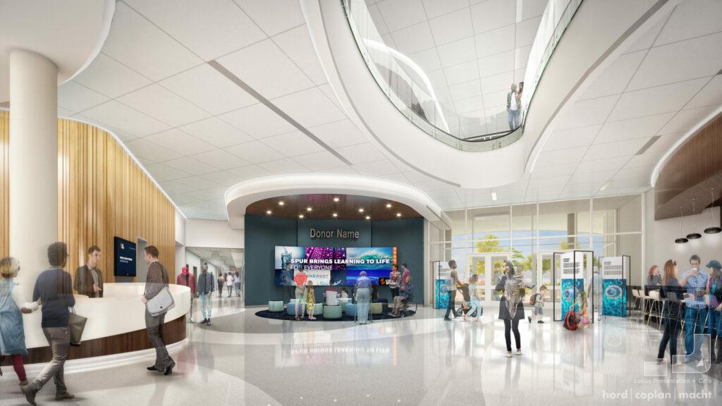 Indoor rendering of a lobby space.