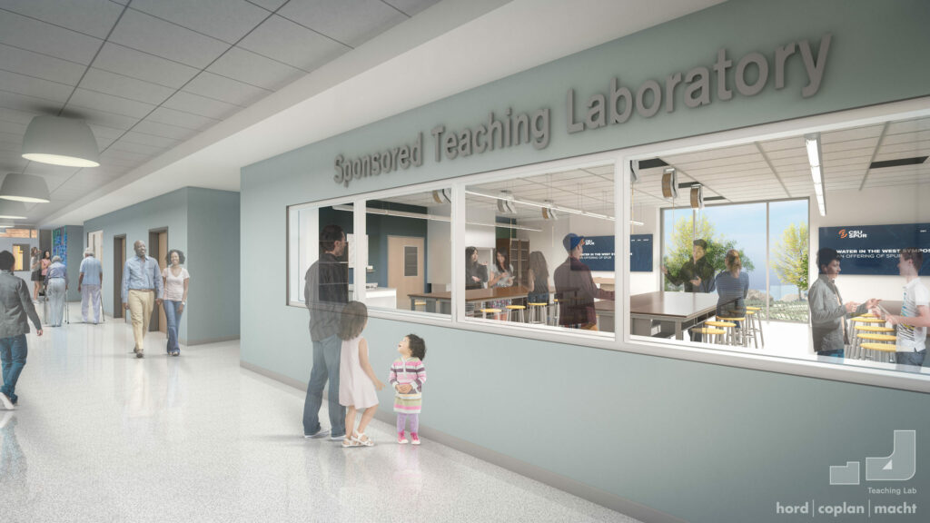Indoor rendering of the outside of a lab space.