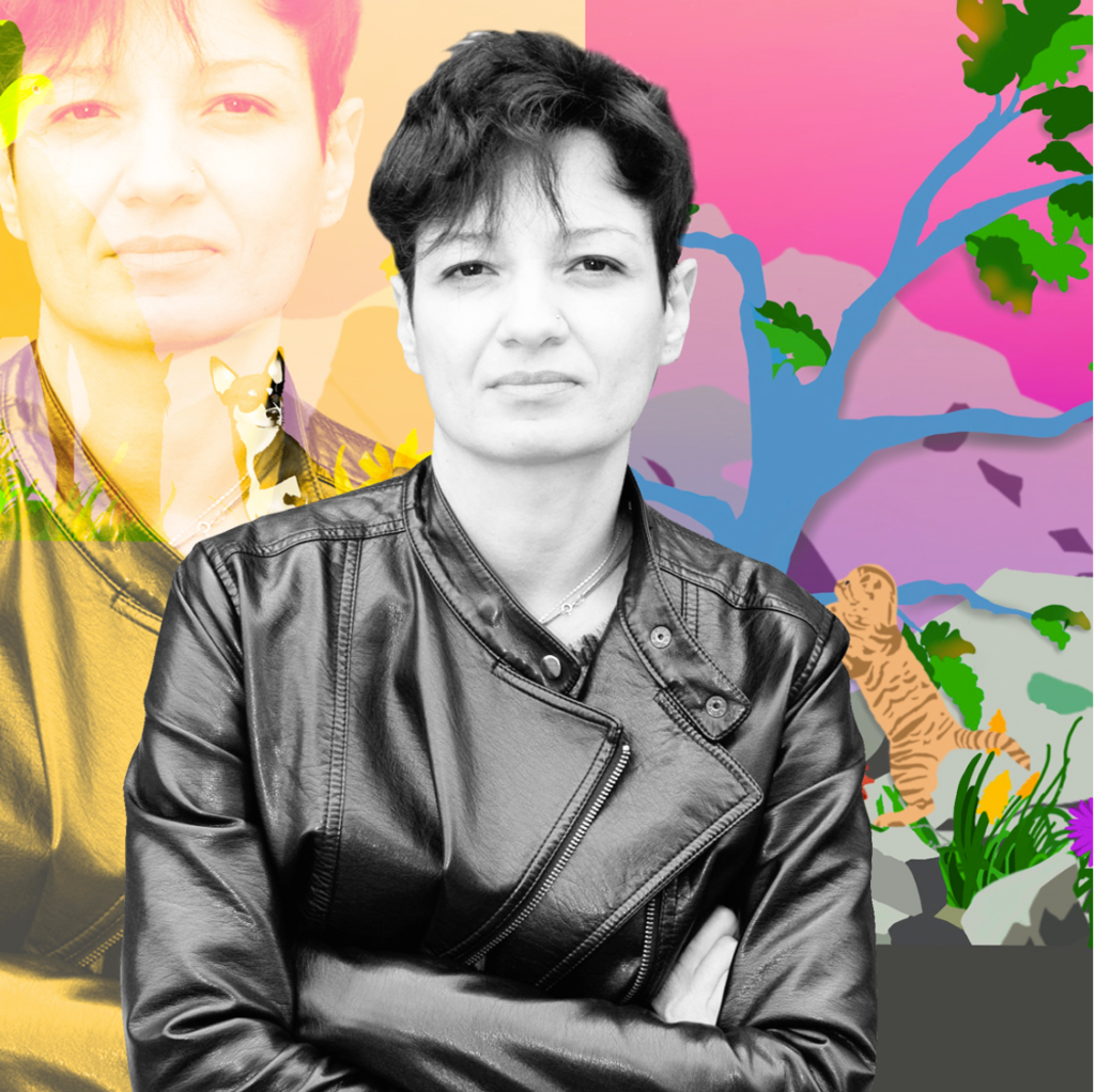 Artistic rendering of Priscila De Carvalho and her proposed mural art