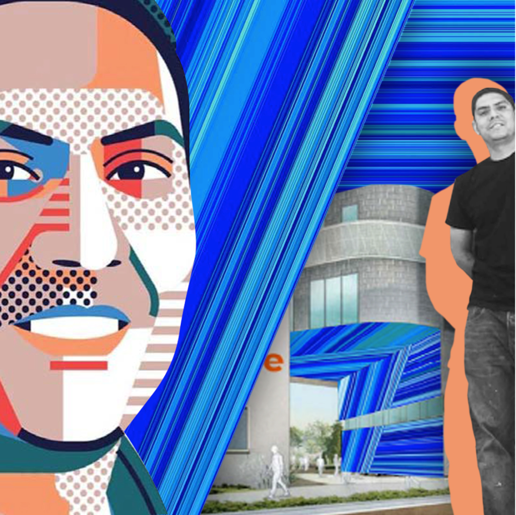 Artistic rendering of Anthony Garcia and his proposed mural art