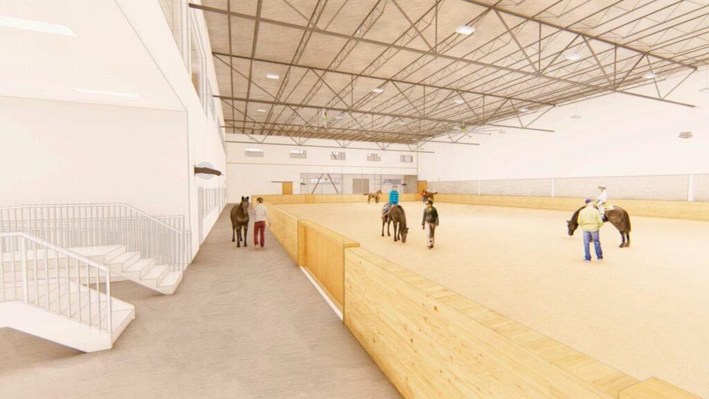 Rendering of an indoor arena with horses