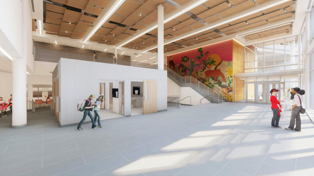 Rendering of an interior lobby with an abstract wall mural