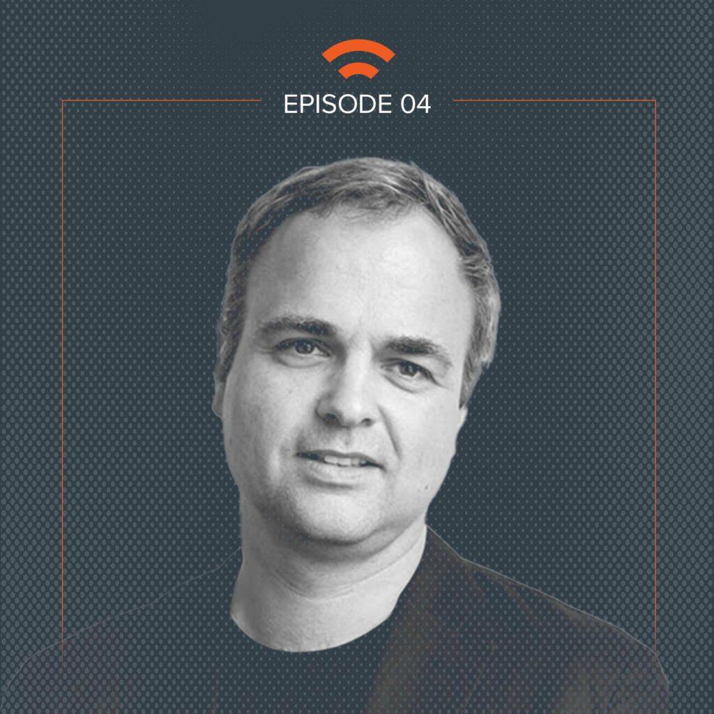 Podcast art with Jason Bruges headshot